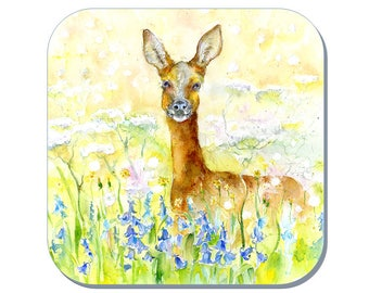 Roe Deer Coaster (Corked Back) - from an original Sheila Gill Watercolour Painting