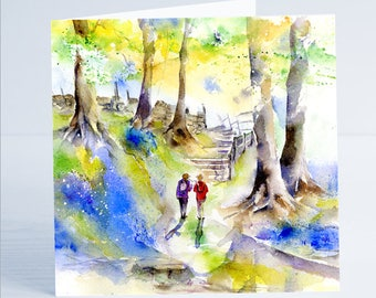 Hiking Greeting Card - Taken from an original watercolour by Sheila Gill