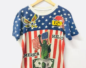 FREE SHIPPING!!! Vintage 90's The United States Of America T-shirt Small Size