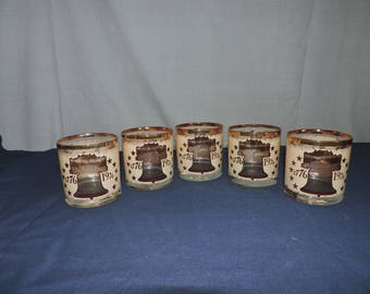 Bicentennial Glasses 1776-1976 Liberty Bell Declaration Of Independence Set of 5