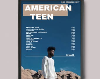Khalid American Teen Custom Music Poster // Album Art // A3 Wall Art