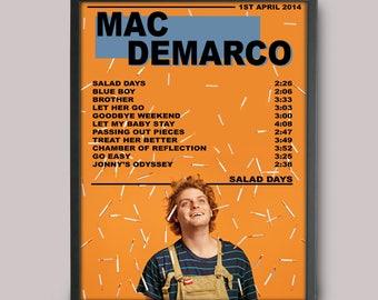 Mac Demarco Salad Days Custom Music Poster // A3 Album Art // Wall Art Poster Design