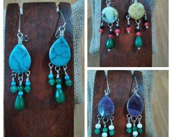 Earrings in silver and semi-precious stones