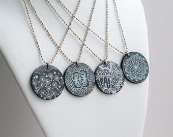 Mandala necklace Boho Necklace Ideas Her Chunky Necklace Wifes Boho Necklace Unique Necklace Idea Wifes Unique Necklace Painted Necklace