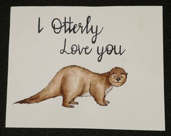 Handmade original water colour of an Otter for your loved one