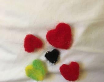 Felt heart pins