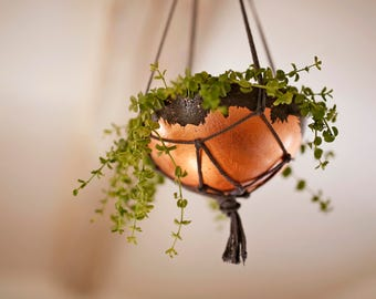 Hanging concrete and copper planter