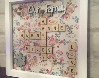 Personalised Scrabble Frame Box Frame Wall Art