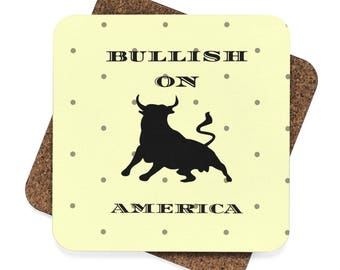 WALLSTREET CREATIONS - BULLISH on America - Square Hardboard Coaster Set  4Pcs