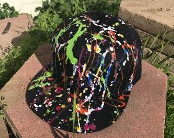 Custom Splatter Paint Snapback Hat