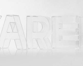 7.8 inches tall Set of 5 Acrylic Fillable Letters, Table Decor, Wedding , Photo Props, Bridal Shower , freestanding