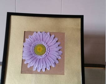 Faux Purple Flower with Gold Border Picture Frame