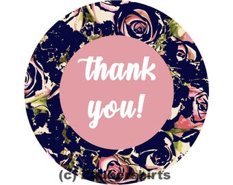 Thank You! Digital graphics file png for download-round shape rose pattern dark blue eg for sticker-Private & commercial use