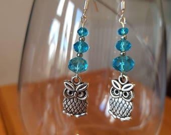 Light Blue Glass bead Owl Drop Earrings