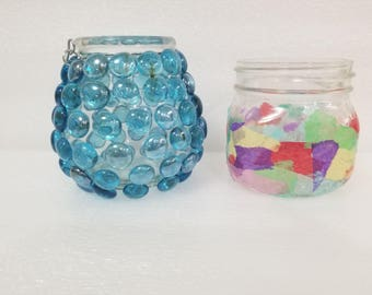 Tissue paper candle holder, beaded candle holder, candle holder, decorative candle holder,