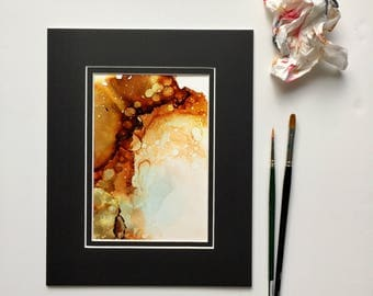 ORIGINAL Abstract Alcohol Ink Painting Gold Accents with Mat -- Wall Decor, Ink Art, Modern Art, Matted Painting