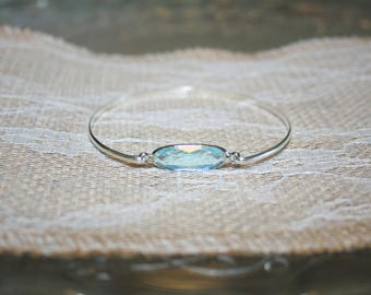 Sterling Silver Swiss Blue Crystal Bar Stacking Bangle Bridal