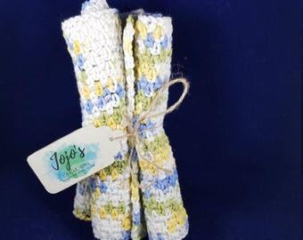 Cotton washcloths, kitchen dishcloths, crochet washcloths, pastel blue, green, and yellow