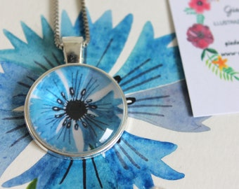 Cornflower pendant, cabochon pendant, round pendant, silver pendant, flower pendant, necklace, gift idea, flower jewellery