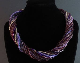 Multistrand Beaded Necklace//Purple//Amethyst//Lilac//Silver//Free Shipping