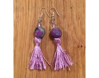 Handmade Lilac Beaded Tassel Earrings