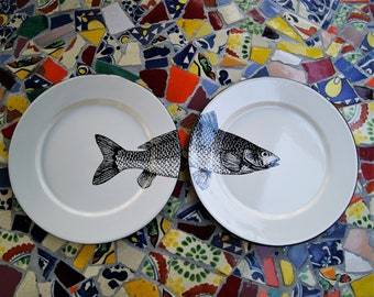 "Pair of Enamel Dinner Plates Mexican Fish Original Art Work Contemporary Design ""Sip of the Sea"""