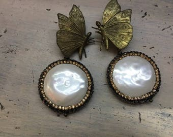 Handmade earrings butterflies and mother of pearl