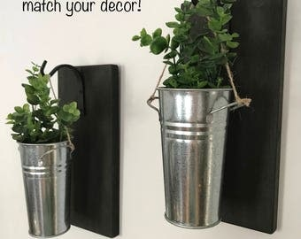 Wall Decor, Wall Sconce, Greenery, Rustic Wall Decor, Farmhouse Wall Decor, Galvanized Sconces, Hanging Planter