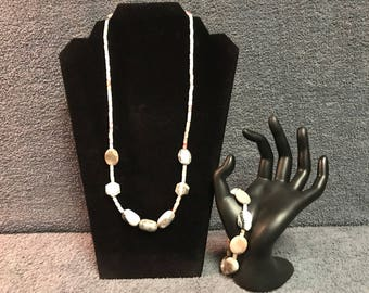 Pink and Gray Necklace and Bracelet