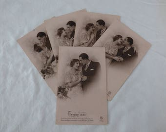 French vintage romantic postcards x5