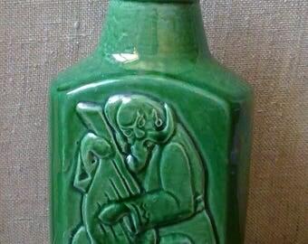 Vintage clay jug Decorative clay bottle
