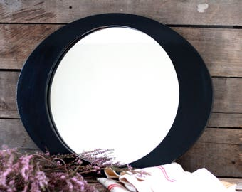 LARGE black lacquered oval wood mirror 50's. French wood frame. French oval mirror. Bathroom mirror. French mirror. French tray. Wood frame