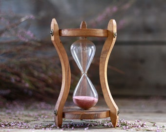 French antique hourglass 50's. Cooking timer. Kitchen utensil. Vintage olive wood hourglass. Sandglass. Glass egg timer. Sands of time