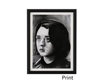 """8.3"""" x 11.7"""" PRINT Portrait drawing of Maisie Williams as Arya Stark in charcoal on paper"""