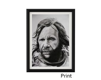 "8.3"" x 11.7"" PRINT Portrait drawing of Rory Mccann as Sandor Clegane The Hound in charcoal on paper"