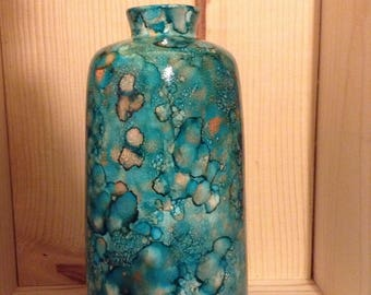 Alcohol ink colored ceramic vase