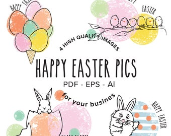 4 Happy Easter Graphics, Clipart_Vector PDF, AI and EPS_Digital Download_Commercial Use_Handdrawn