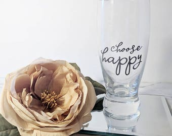 Choose Happy Beer Mug // Simple Design // Gift for Her // Valentines Gift // Beer Glass // Happy Mail //