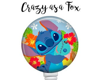 Lilo and Stitch Retractable Badge Holder, Badge Reel, Lanyard, Stethoscope ID Tag, Nurse, RN, MD, Student  Gift