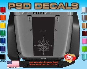 Jeep Decals Jeep Wrangler Blackout Compass Vinyl Hood Decal H-170
