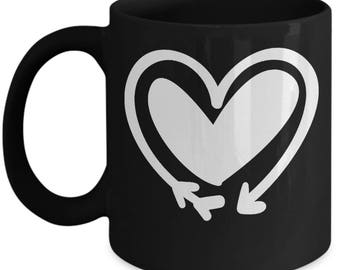 Double Heart Arrow - High Quality Cute Black & White Ceramic 11 oz or 15 oz Mug -Love Valentine's Day Mother's Day Mom Wife Girlfriend Gift