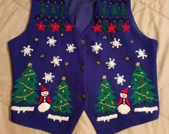 Vintage Erika Classics Clothing Co holiday vest, ugly sweater, Christmas vest