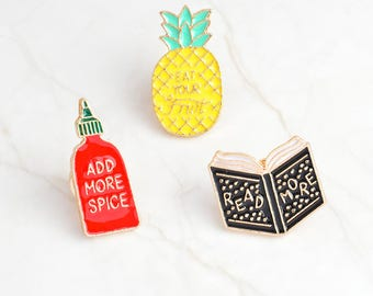 Cute Pins, Enamel Pins, Spicy Sauce Pin, Pineapple Pin, Cute Badges, Cute Icon Badges for Backpack, Badges
