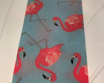 LARGE Reusable Cotton Beeswax Food Wrap Giant Flamingo Bird Tropicana Light Blue 30cm x 30cm Plastic Free Eco friendly