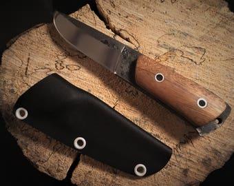 Knife - flat sole - inspiration pukko - steel C70 - Bushcraft sleeve sipo