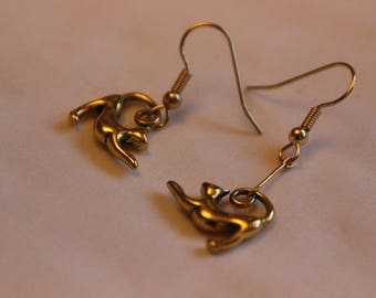 Handmade Kitty Playing Earrings ~ Valentine's Day ~ Cat ~ Animals ~ Gift for Her ~ Small ~ Dangle Earrings ~ Girlfriend Gift ~ Birthday Gift