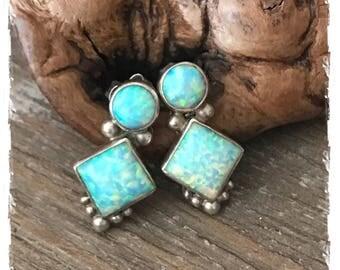 Sweet Southwestern Navajo Gorgeous Sterling Silver Opal Earrings (Pierced)
