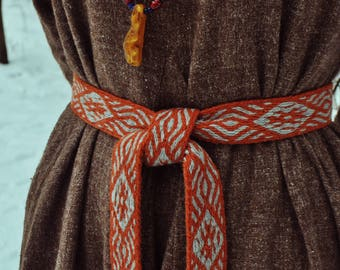Medieval tablet weave, Viking belt, orange and gray colors wool, clothing accessory, reenactment, unique detail in modern clothing