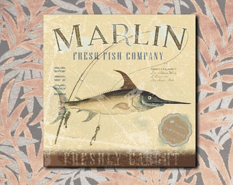 Vintage Marlin, swordfish, old sign, sea, peach, panel in forex