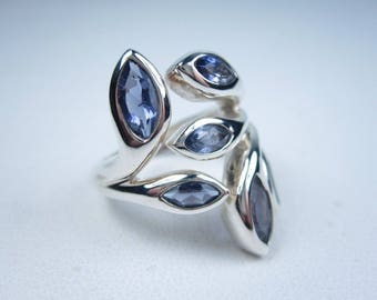 Sterling Silver Ring with Lolite Size 7.5 0494